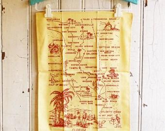 Vintage Florida Tea Towel  - Pre-Disney Florida Map Souvenir Towel - Yellow with Red Design - Unused - NOS  - Mid-Century 1960s