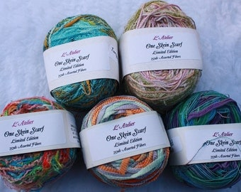 L'Atelier Scarf Kit One Skein Yarn 7 different combinations 75 yards multi strand fibers