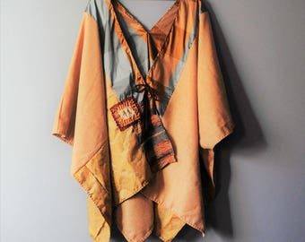 Wool Kimono Wrap/ Upcycled Winter Poncho in Bronze /Ready to Ship