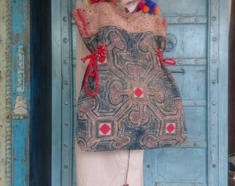 Batik Tote bag Vintage handamde ethnic gypsy boho handmade Tribal pompom straps