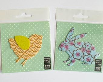Iron On Patches - bird & rabbit japanese pattern