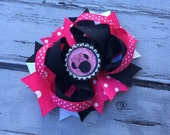 NEW ITEM Boutique Baby Girls Layered Minnie and Mickey Hair Bow Clip..Minnie Mouse Hair Bow Perfect for Disney Photo Props Birthday St