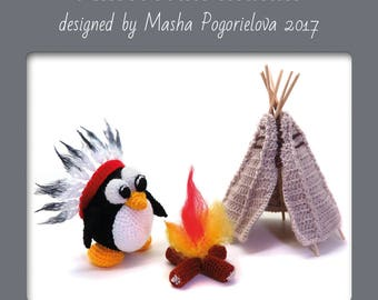 American Indian Penguin pattern - photo tutorial how to crochet amigurumi penguin with fire and tipi wigwam