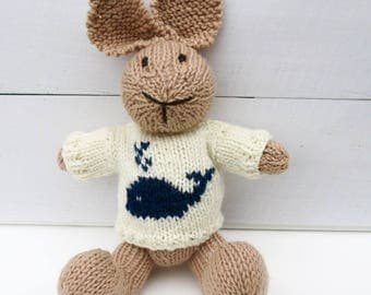 Amos the Hand Knitted Bunny Rabbit Toy with Cream Jumper with a Whale on the Front