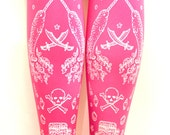 Fairy Kei White on Candy Pink Bright Narwhal Pirate Tattoo Tights Medium Large Tall Lolita Kawaii