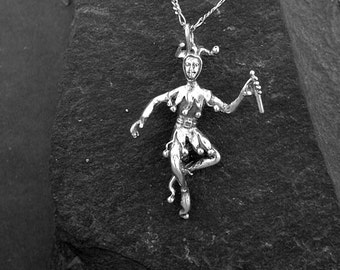 Sterling Silver Jester Pendant on a Sterling Silver Chain.