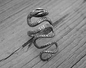Vintage Silver Snake Ring Size 7 Wrap Around Serpent Ring Snake Jewelry Gothic Goth Punk Rock n Roll Rocker Rock and Roll Heavy Metal