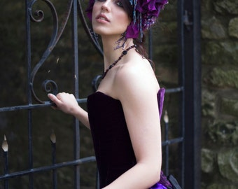 SALE Purple 'Royal Iris' Beaded Floral Couture Headdress