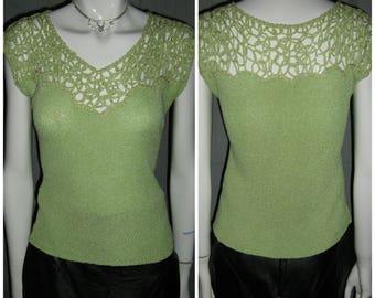 1950's TOBI Calif Mint Green Silver Metallic Lurex Pullover Open Weave Pin Up Sweater Top Blouse Crochet Rockabilly VlV