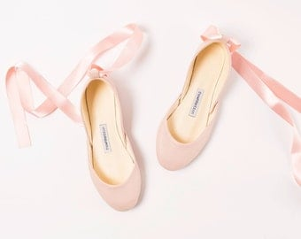 The Blush Nude Wedding Ballet Flats with Satin Ribbons | Lace Up Bridal Shoes in Nude | Made to Order
