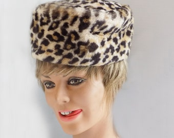 1960s Faux Leopard Pill Box Hat