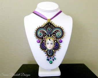 Beaded Pendant Statement Necklace Slow Fashion Jewelry Mardi Gras Bead Embroidery Vintage Cabochon Queen of the Ball Embroidered Soutache