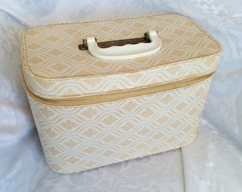 Vintage Blondy Luggage Toiletries Carry on, Cosmetic Bag - Neutral Tone