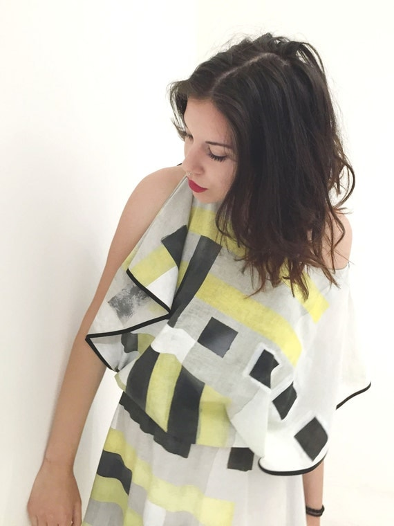 Tunic Dress Black Yellow Hand Painted Peplos LOLA DARLING 06/Light Cotton /Geometric Graphic /Art Work Signed Certified /body-length garment