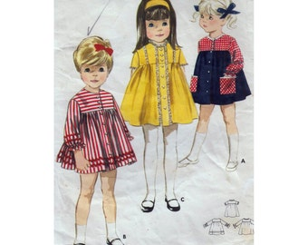 "Baby Sewing Pattern Vintage 60s Empire Waist Front Button Dress Size 6 Months Chest 19"" (48 cm) Butterick 3794"