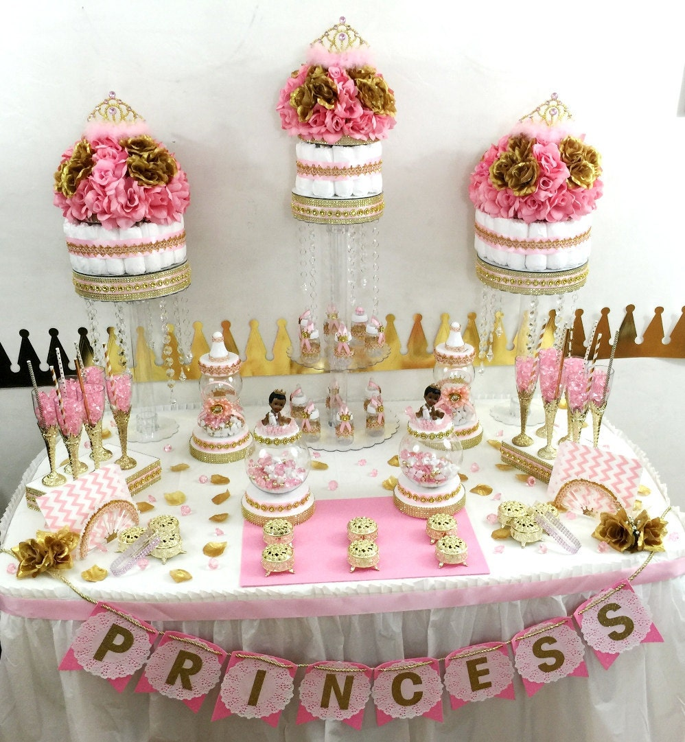 pink and gold baby shower candy buffet by platinumdiapercakes