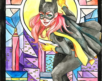 Batgirl Stained Glass Watercolor Print