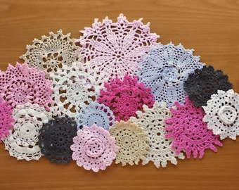 16 Pink, Gray, White, Beige, and Black Hand Dyed Vintage Doilies, 2.25 thru 4 inch Doilies, Craft Doilies, Shabby Crafts, Crochet Mandalas