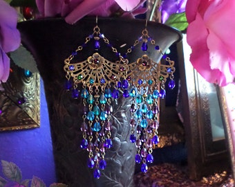 Colorful Ombre Fantasy Peacock Chandelier Earrings, Purple, Teal, Blue, Emerald, Antique Brass Fan Earrings, Extra Long Sparkly Crystal