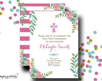 Girls Communion Invitation or Baptism Invitation