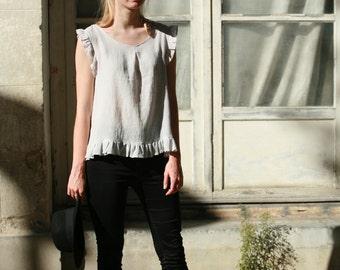 Pale grey linen cotton blend top with ruffles, hand dyed soft linen