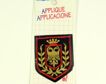 Vintage Coat of Arms Crest Double Headed Eagle Gold Crown Iron On Embroidered Patch Badge Applique Embroidery Gold, Red, Black, NIP NOS