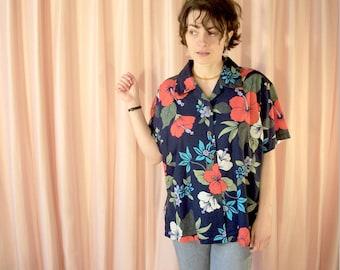 Navy Blue and Red Hibiscus Hawaiian Shirt