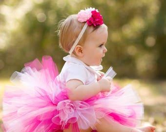 Infant Tutu Pink with Flower Headband, Newborn Baby Tutu, Toddler Tutu, Pink Tutu, Pink Tutu Dress, Pink Tutu Set, Pink Baby Tutu