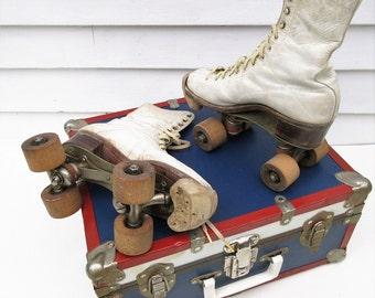 Vintage Metal Suitcase   Roller Skates   Roller Skate Suitcase   Leather Womens Roller Skates   Wood Rollers - As Is