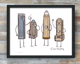 Charlotte Skyline- art print- Coffee with Charlotte