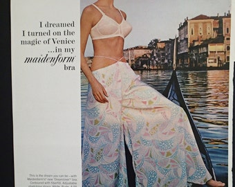 1967 Vintage Lingerie Ad On Location in Venice Italy Maidenform Bra Foundation Garment Wide Leg Pants Bouffant Hair Womens Salon Bedroom Art