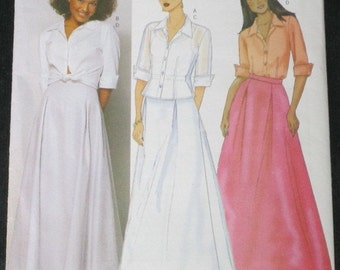 Sewing Pattern - Butterick 6572 Misses Size 6-8-10 UNCUT Flared Floor Length Skirt and Semi Fitted Blouse/Shirt