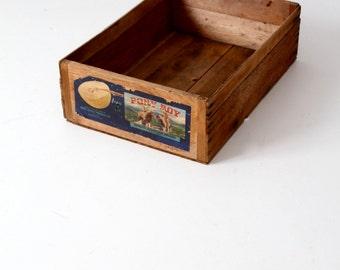 wood fruit crate, Pony Boy Melon box, vintage wooden produce storage box