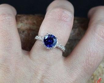 Blue & White Sapphire Halo Engagement Ring 3/4 Eternity Round Bezel Leaf 2ct 8mm 14k 18k White-Yellow-Rose Gold-Platinum-Custom-Wedding