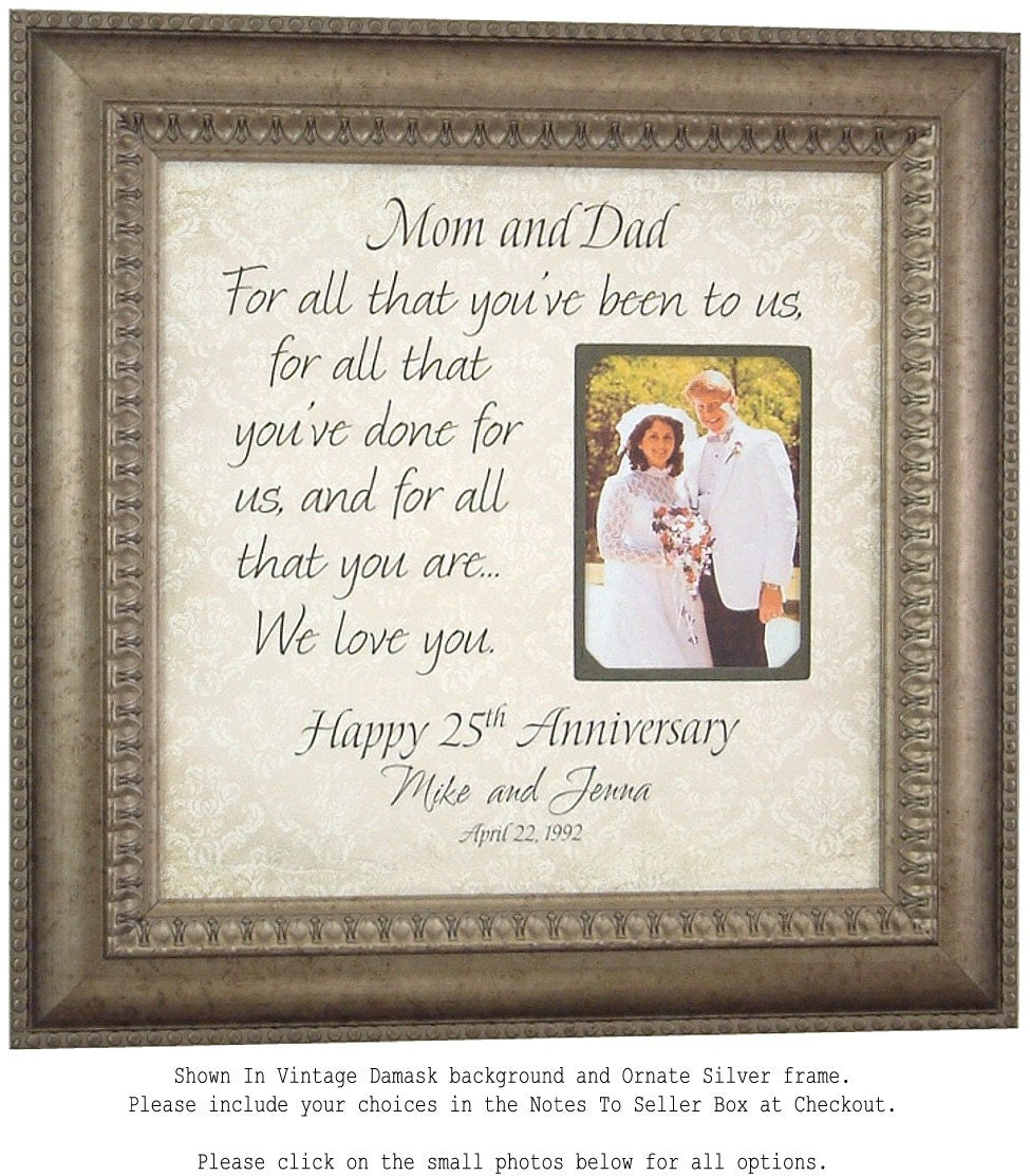 25th Wedding Anniversary Gift For Parents: 25th Anniversary Gifts Anniversary Photo Frame Parents