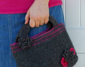 Pattern PDF for Crochet Felted Smoky Bookbag, Purse, Satchel with Appliqués and roses