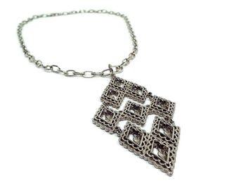 Large Vintage Pendant Necklace Silver Tone Filigree Diamond Shape Mid Century