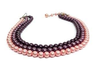 Short Length Multi Strand Vintage Faux Pearl Choker Necklace Plastic Beaded Pink Mauve Purple Mid Century Mod