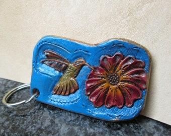 Hummingbird key chain, Western leather key holder, hummingbirds, Sheridan flower in red, Ultramarine blue fob