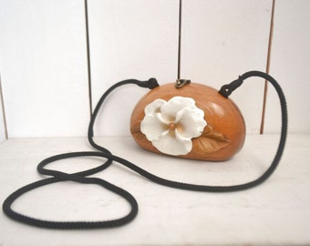 Timmy Woods Handbag - White Hibiscus Flower Acacia Wood Purse - Mini Cross Body Bag - Vintage 1980s with Certificate of Originality
