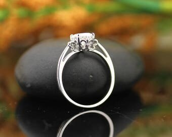 Forever One 8x6mm Oval  Moissanite Colorless Fleur-de-Lis  style Engagement Ring In 14k White Gold-Gem1305