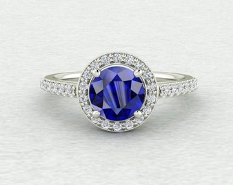 Classic Halo with 6.5mm Chatham Created Blue Sapphire and Conflict Free Diamond LCDH018