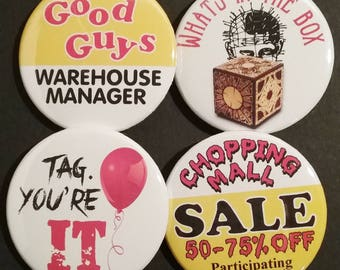 Horror Movie Buttons OR Magnets, Set of 4