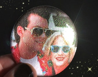 True Romance Glitter Sparkle - Large Pin Back Button