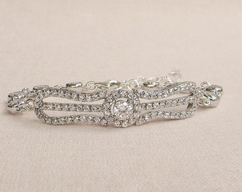 60% OFF SALE, Dainty Bridal Bracelet, Crystal Wedding Jewelry, Halo Crystal, Vintage style Rhinestone Bracelet, Delicate, Caroline Bracelet