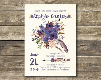 Printed Bridal Shower Invitation - Boho Watercolor Lavender / Navy / Purple Rustic Wedding - Bohemian Bridal Lunch - Bridal Tea