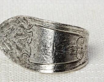 Vintage Silver Spoon Ring Simple Retro Adjustable 16R