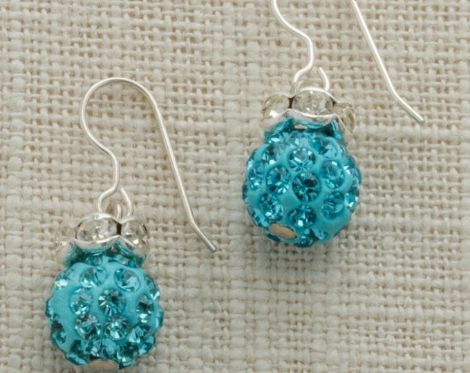 Turquoise Rhinestone Beaded Silver Earring French Hooks Handcrafted 6H
