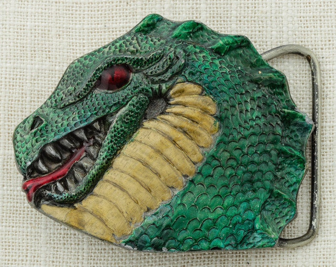 Vintage Green Dragon Belt Buckle Enamel Red Tongue Head CJ Inc Made In USA 1993 Vintage Belt Buckle 16A