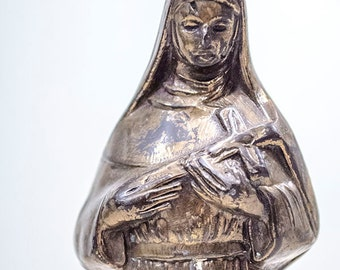 Antique French St Rita Statue, Spelter Metal, from France, Signed
